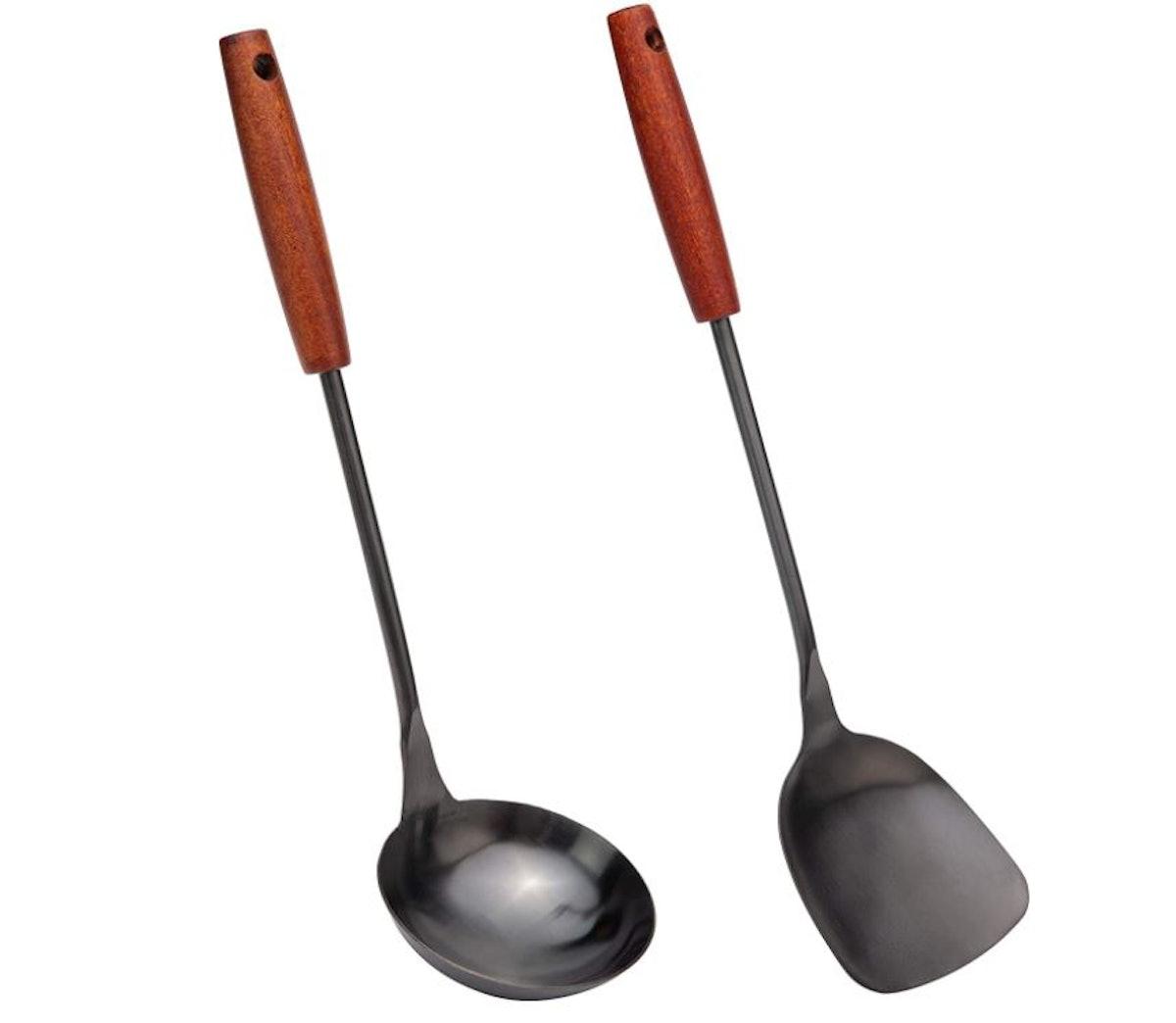 Fjnatinh Spatula & Ladle Wok Tool Set (15 Inches and 14.2 Inches)