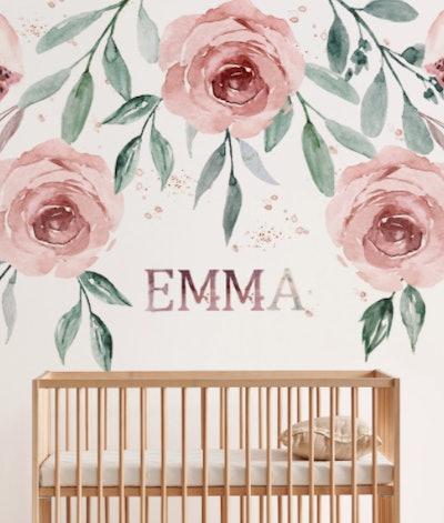 Watercolor Roses Name Sign Nursery Wallpaper