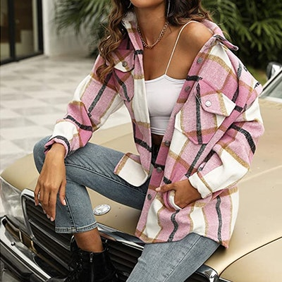 Uaneo Plaid Wool Blend Button Down Jacket