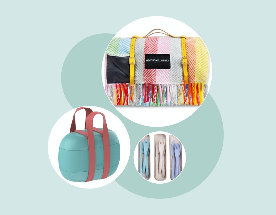 A composite image of a picnic blanket in rainbow stripes, a turquoise and pink handbag-shaped lunchbox set, and a trio of reusable cutlery sets in pastel shades