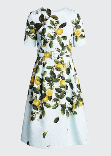 Lemon-Print Belted Midi Dress
