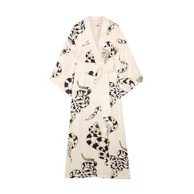 Olivia Von Halle Ivory Queenie Printed Silk-Satin Robe
