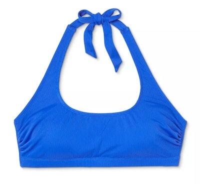 Juniors' Plus Size Ribbed Halter Bikini Top