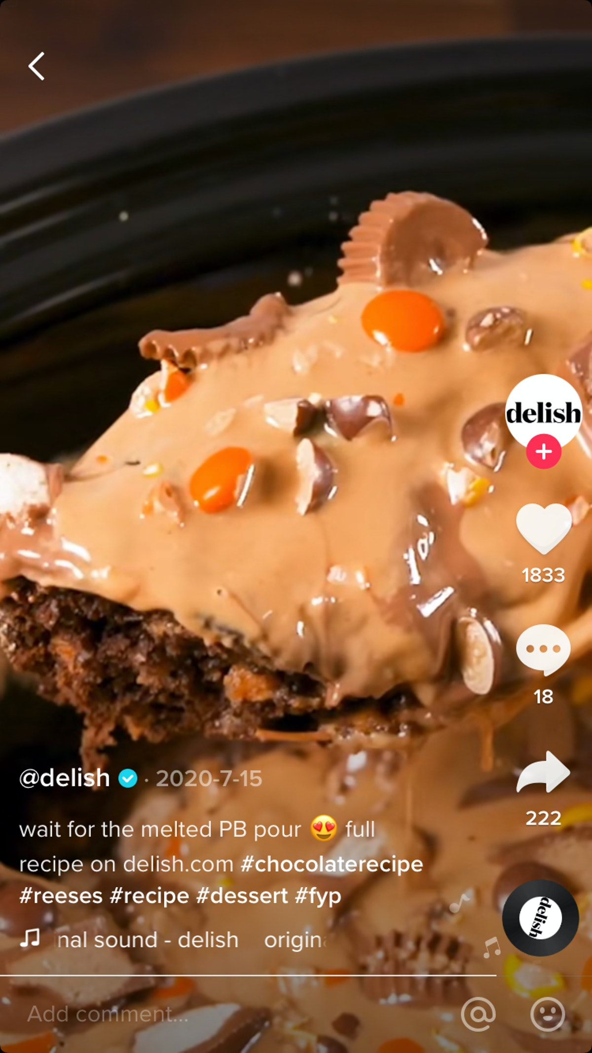 TikToker @delish shares a recipe using Reese's Peanut Butter Cups.
