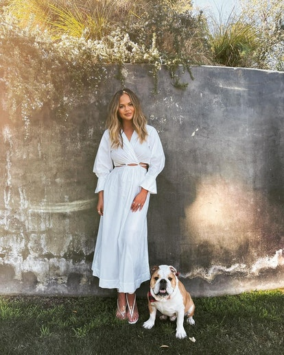 Chrissy Teigen and her bulldog Pablo.