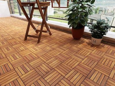 Acacia Hardwood Interlocking Patio Deck Tiles (10-Pack)