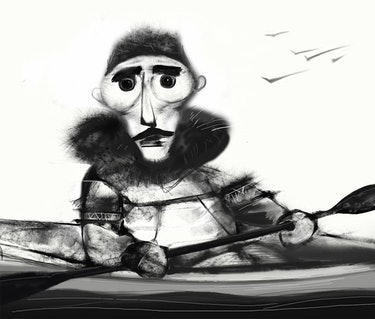 A drawing of an Inuit man.