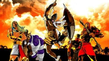Artwork of warriors.