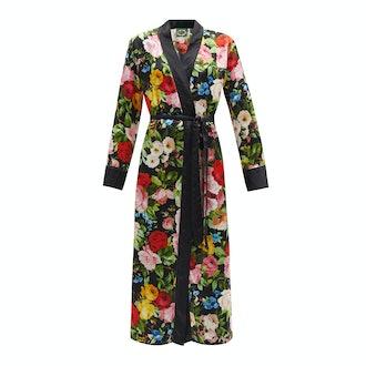 Richard Quinn Floral Print Silk- Satin Robe