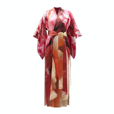 Common Hours Crimson and Claret Printed Silk Reversible Robe