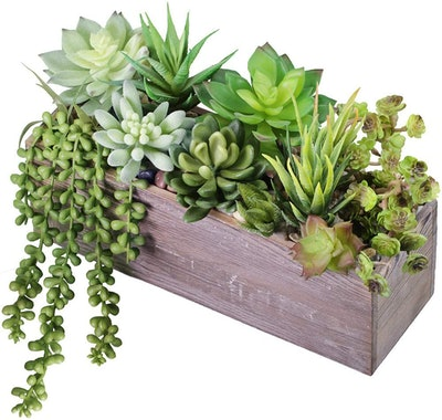 Supla Rustic Wood Pre-Potted Fake Succulent Planter
