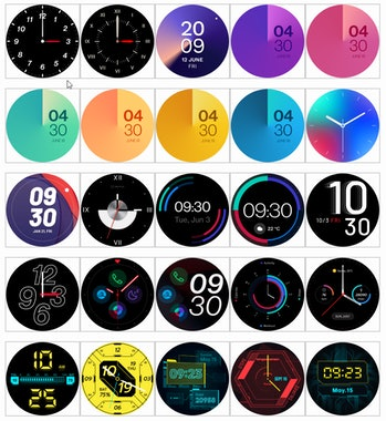Leaked images of watch faces for the OnePlus Watch.