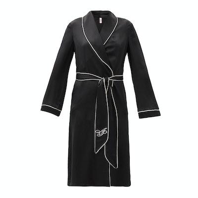 Agent Provocateur Classic Piped-Trim Silk Robe