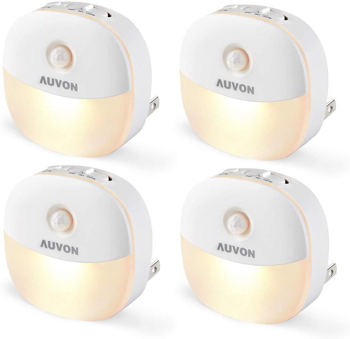 AUVON Plug-In Motion Sensor Night Lights (4 Pack)
