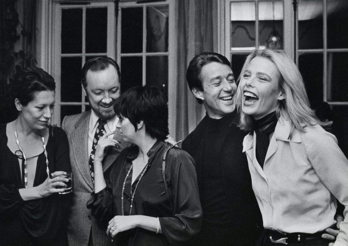 Margaux Hemingway laughing with famous friends