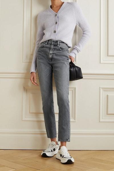 Beatnik Distressed High-Rise Slim-Leg Jeans