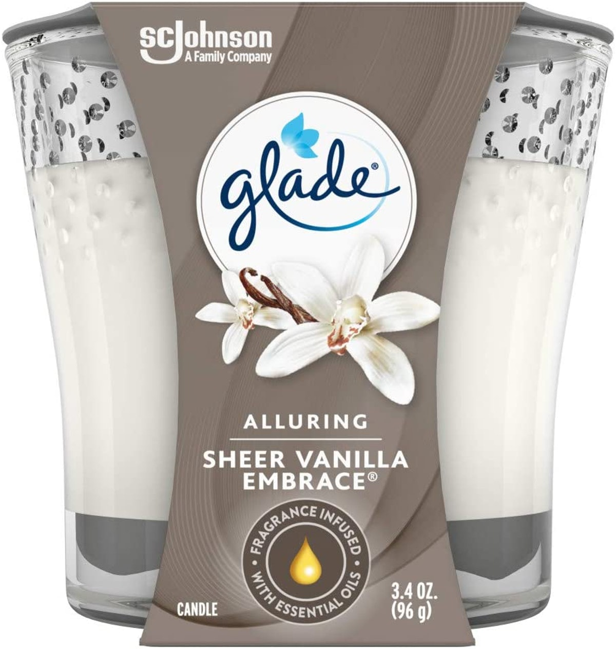 Glade Candle Jar, Sheer Vanilla Embrace, 3.4 Oz.