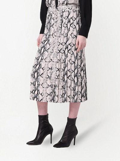 Snakeskin-Print Wrap Silk Skirt