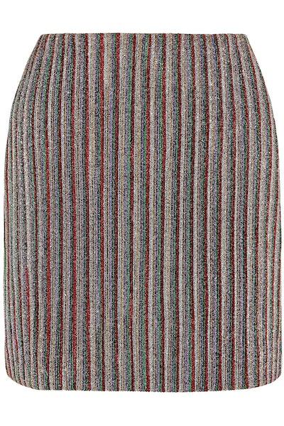 Striped Metallic Ribbed-Knit Mini Skirt