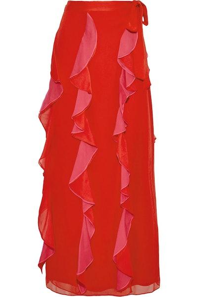 Salona Ruffled Silk Wrap Skirt