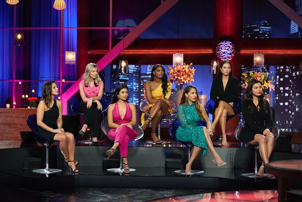 """The cast of Matt James' Bachelor season at the """"Women Tell All"""" special."""