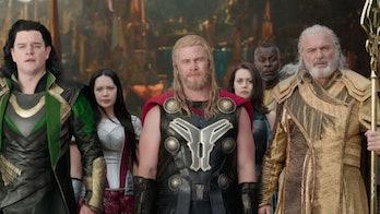 Matt Damon, Luke Hemsworth, and Sam Neill in Thor: Ragnarok