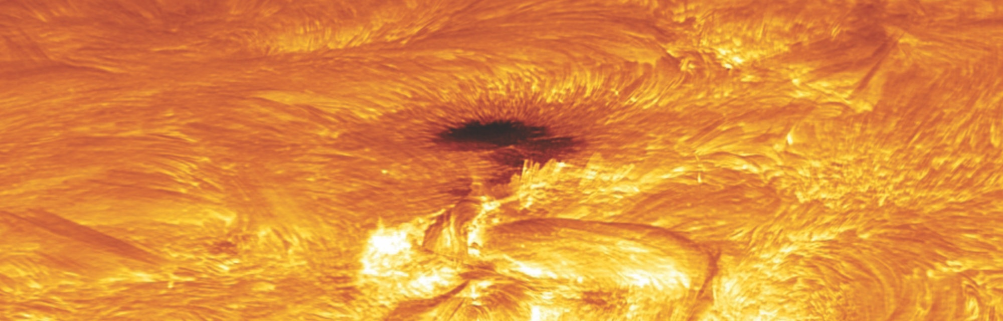 A close up of the Sun's surface showing the boiling hot plasma.