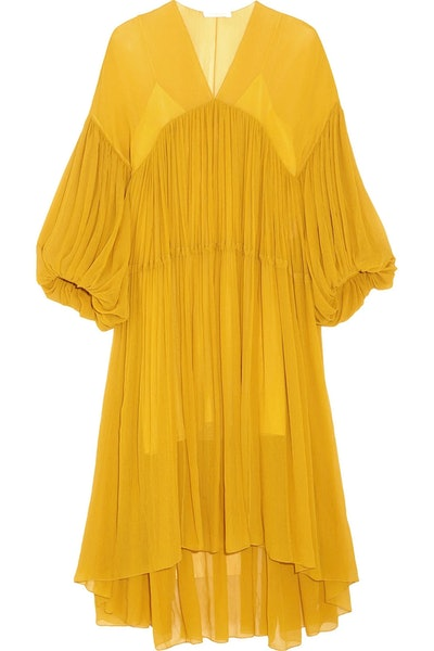 Gathered Silk Georgette Midi Dress