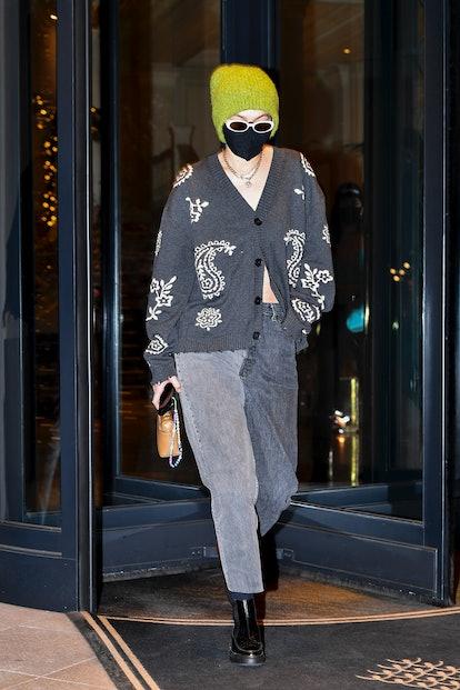Gigi Hadid is seen during the Milan Women's Fashion Week Fall/Winter 2021/2022 on February 28, 2021 ...