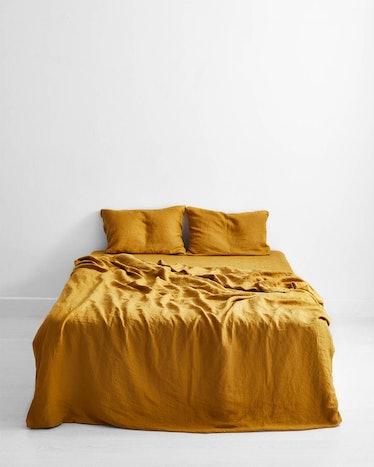 Turmeric 100% Flax Linen Bedding Set - Queen