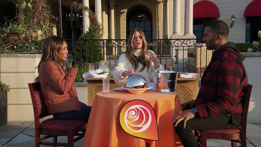 Tayshia Adams, Jojo Fletcher, and Matt James in The Bachelor.