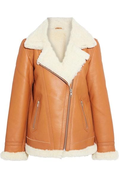 Harper Oversized Shearling Biker Jacket
