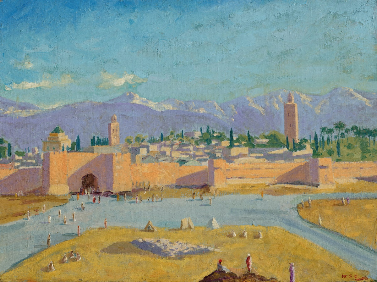 A painting of a mosque.