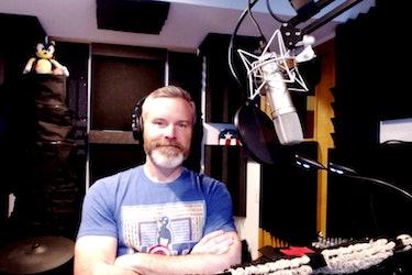 Roger Craig Smith in his home recording studio