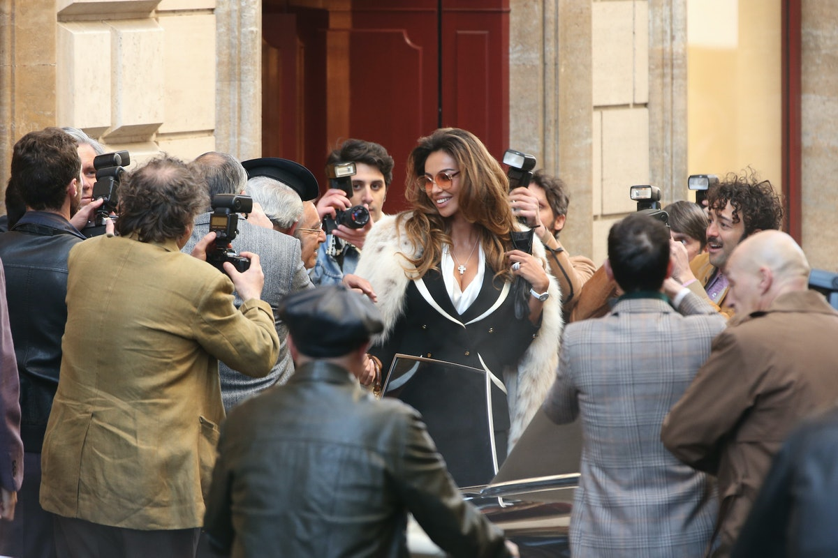 Madalina Ghenea on the set of House of Gucci