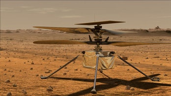 An illustration of the ingenuity helicopter on the Martian atmosphere