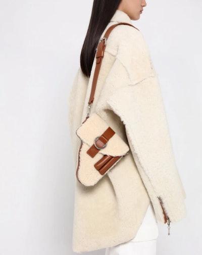 Brown Shearling Leather Multi Purpose Bag