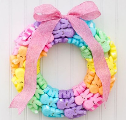 a spring wreath made from multi-colored Peeps