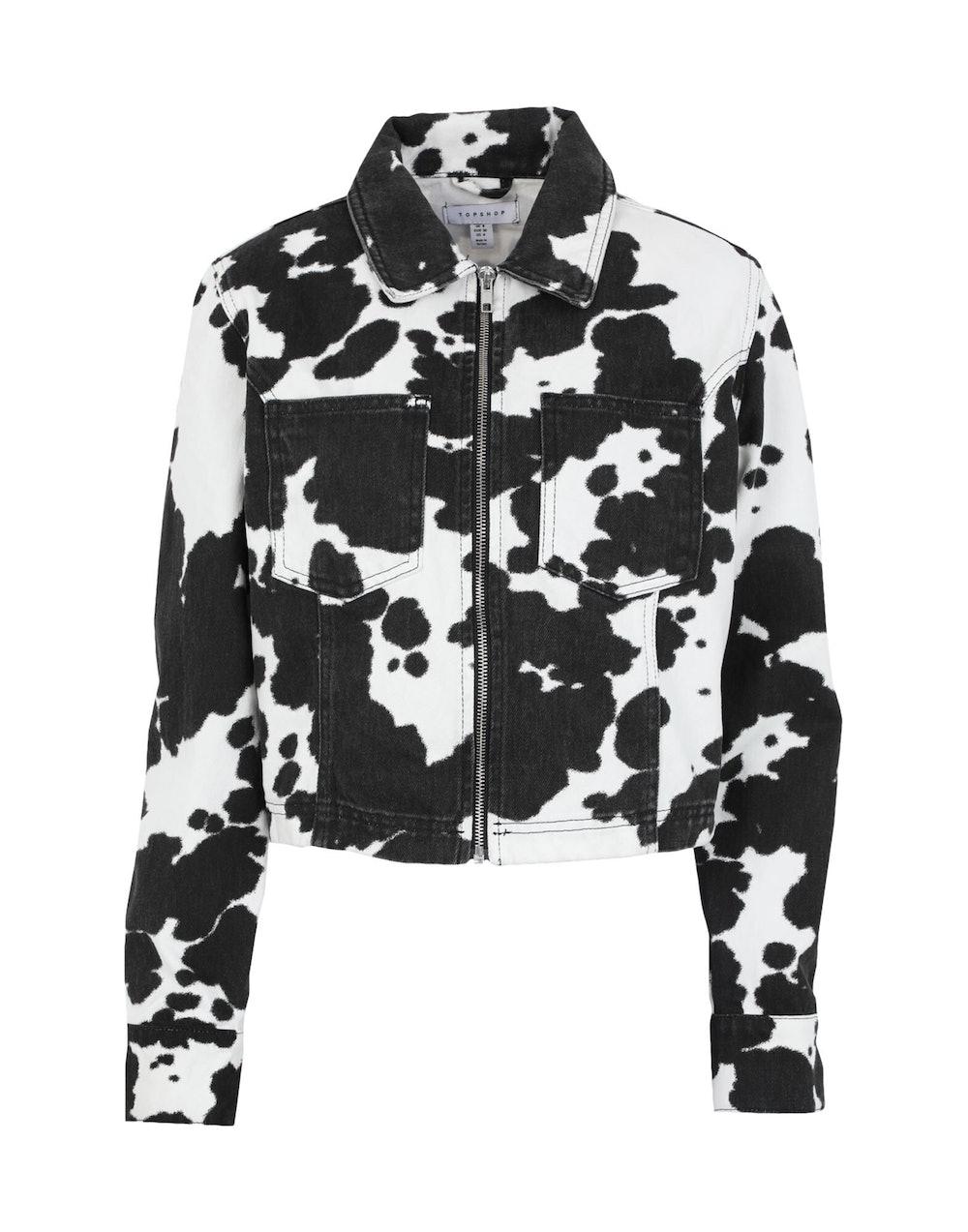 CONSIDERED COW PRINT DENIM JACKET