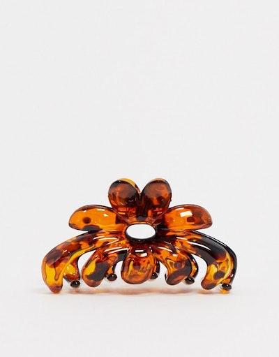 Hair Clip Claw in Tortoiseshell Flower Design