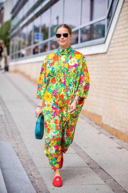 A guest is seen outside Holzweiler during Copenhagen Fashion Week Spring/Summer 2020 on August 07, 2019 in Copenhagen, Denmark.