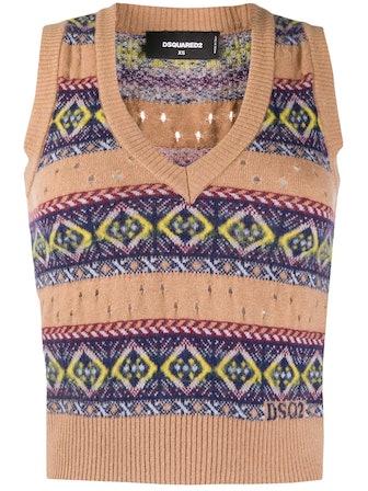 V-neck Print Sweater Vest