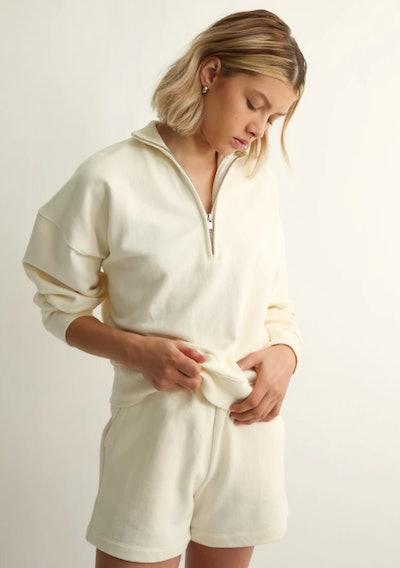 The 1/2 Zip Sweatshirt in Ivory
