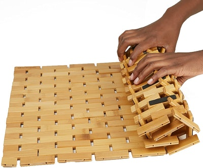 Mind Reader Anti-Slip Bamboo Bath Mat