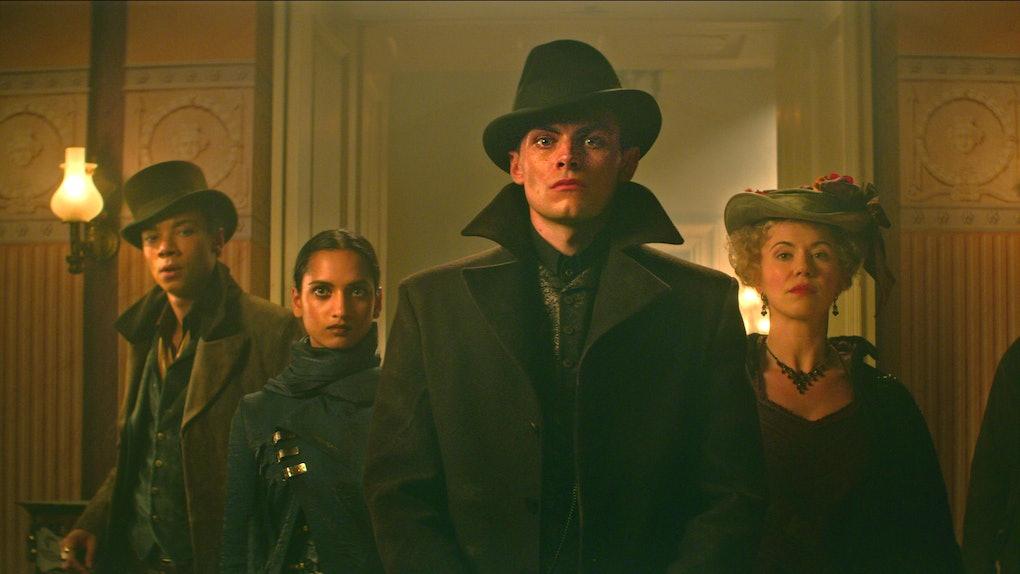 KIT YOUNG as JESPER FAHEY, AMITA SUMAN as INEJ GHAFA and FREDDY CARTER as KAZ BREKKER in SHADOW AND BONE