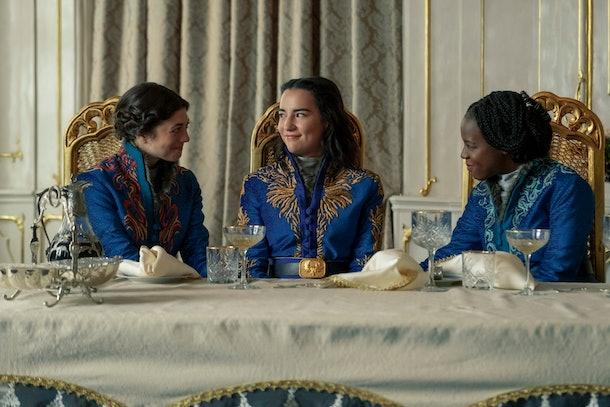 JASMINE BLACKBOROW as MARIE, JESSIE MEI LI as ALINA STARKOV and GABRIELLE BROOKS as NADIA in SHADOW AND BONE