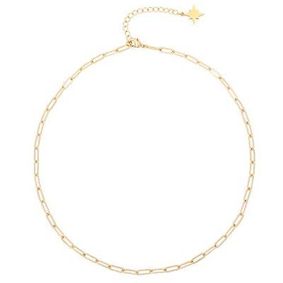 Aobei Pearl 18k Gold Oval Link Chain Choker