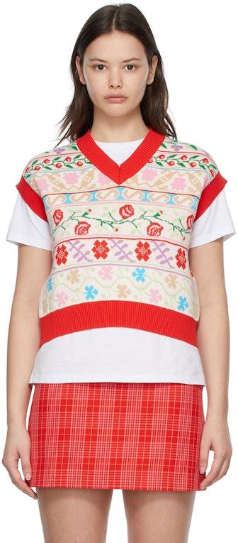 Multicolor Floral Sweater Vest
