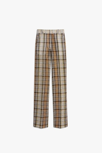 Split Hem Straight Leg Trouser in Check Print
