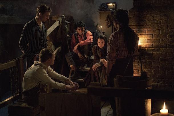 Thaddea Graham as Bea, Darci Shaw as Jessie, Jojo Macari as Billy, McKell David as Spike, Harrison Osterfield as Leopold in The Irregulars